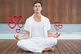 Composite image of handsome man in white meditating in lotus pose