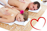 Composite image of beautiful young couple receiving a back massage