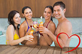 Composite image of cheerful people toasting drinks in the swimming pool