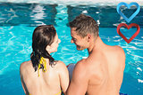 Composite image of smiling young couple in swimming pool