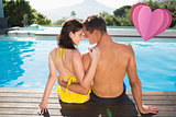 Composite image of couple sitting by swimming pool on a sunny day