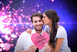 Composite image of pretty brunette giving boyfriend a kiss and her heart