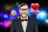 Composite image of geeky hipster holding rose between teeth