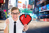 Composite image of romantic geeky hipster
