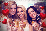 Composite image of pretty friends drinking champagne together