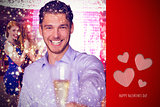 Composite image of man offering champagne