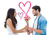 Composite image of happy hipster giving his girlfriend roses