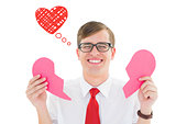 Composite image of broken hearted geek
