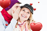 Composite image of handsome man with hat telling a secret to his laughing girlfriend against a white