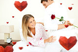 Composite image of attentive man giving a rose to his wife