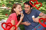 Composite image of woman eating ice cream while sitting with her friend