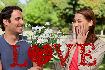 Composite image of young woman holding her hands against her face when presented with flowers