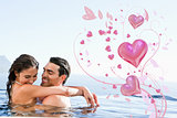 Composite image of couple hugging in the pool