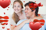 Composite image of close up of a young couple posing