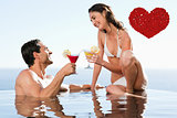 Composite image of couple having cocktails in the pool