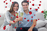 Composite image of portrait of lovers toasting their flutes of champagne