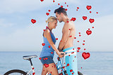 Composite image of cute couple together with their bicycles