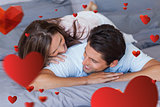 Composite image of couple having fun on the bed