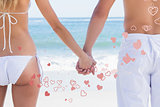 Composite image of young couple in swimwear holding hands