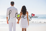 Composite image of attractive couple holding hands and watching the ocean