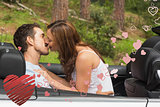 Composite image of young couple smooching on the backseat