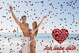 Composite image of happy couple smiling at camera and waving
