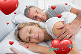 Composite image of couple sleeping and spooning in bed