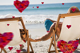 Composite image of cute couple holding hands while lying on their deck chairs