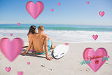 Composite image of pretty young couple with their surfboards looking at the sea