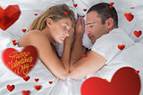 Composite image of cute couple lying asleep in bed