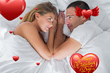 Composite image of cute couple lying and looking at each other in bed