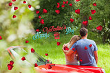 Composite image of loving couple admiring nature while leaning on their cabriolet