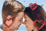 Composite image of close up view of romantic couple