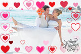 Composite image of handsome groom carrying his beautiful blonde wife