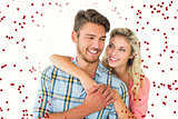 Composite image of attractive couple embracing and smiling