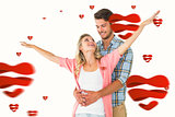 Composite image of attractive young couple smiling and embracing
