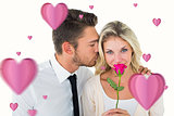 Composite image of handsome man kissing girlfriend on cheek holding a rose