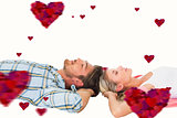 Composite image of attractive young couple sleeping peacefully