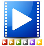 Play button on film strip in several colors. Icon for multimedia