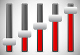 Vertical sliders, adjusters or faders, levers. User inteface UI,