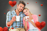 Composite image of attractive young couple sitting holding mugs