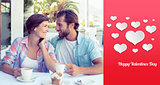 Composite image of happy couple enjoying coffee together