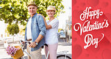Composite image of happy mature couple going for a bike ride in the city