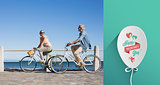 Composite image of happy casual couple going for a bike ride on the pier
