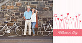 Composite image of happy senior couple going for a bike ride in the city