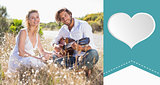 Composite image of handsome man serenading his girlfriend with guitar