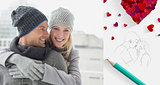 Composite image of cute couple in warm clothing hugging woman smiling at camera