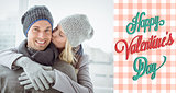 Composite image of cute couple in warm clothing hugging man smiling at camera