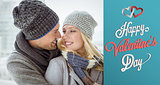 Composite image of cute couple in warm clothing smiling at each other