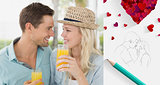 Composite image of hip young couple drinking orange juice together